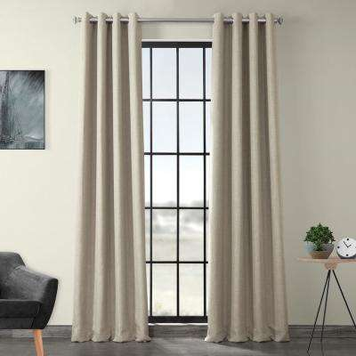 Oatmeal Beige Faux Linen Grommet Blackout Curtain - 50 in. W x 108 in. L