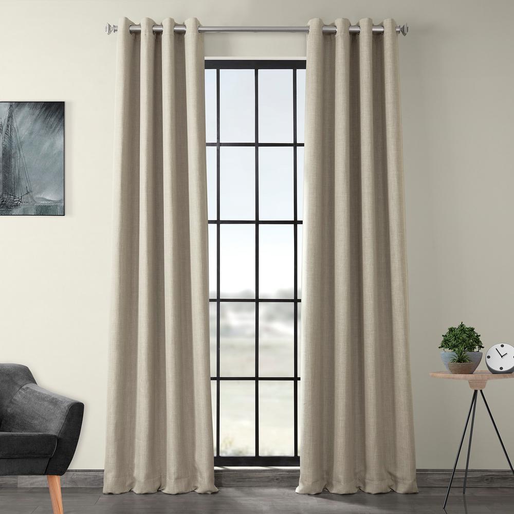 Oatmeal Beige Faux Linen Grommet Blackout Curtain - 50 in. W x 96 in. L