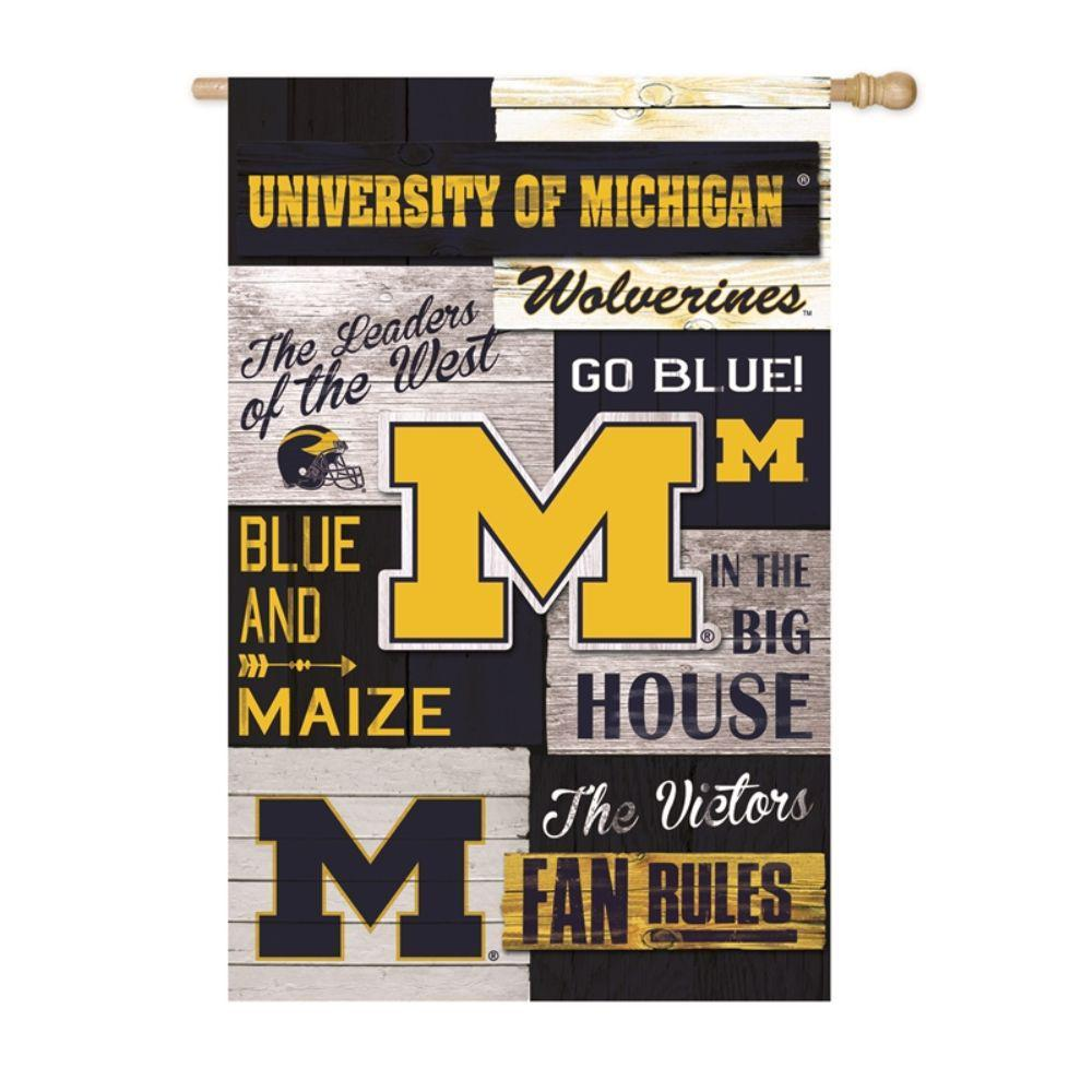 Team Sports America 2-1/3 ft. x 3-2/3 ft. Linen University of Michigan 2-Sided Fan Rules House Flag