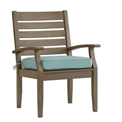 Verdon Gorge Gray Oiled Wood Outdoor Dining Arm Chair with Blue Cushion (2-Pack)