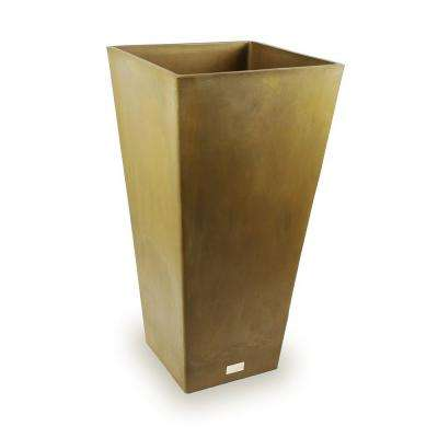 Midland 13 in. Dia Square Bronze Tall Plastic Planter