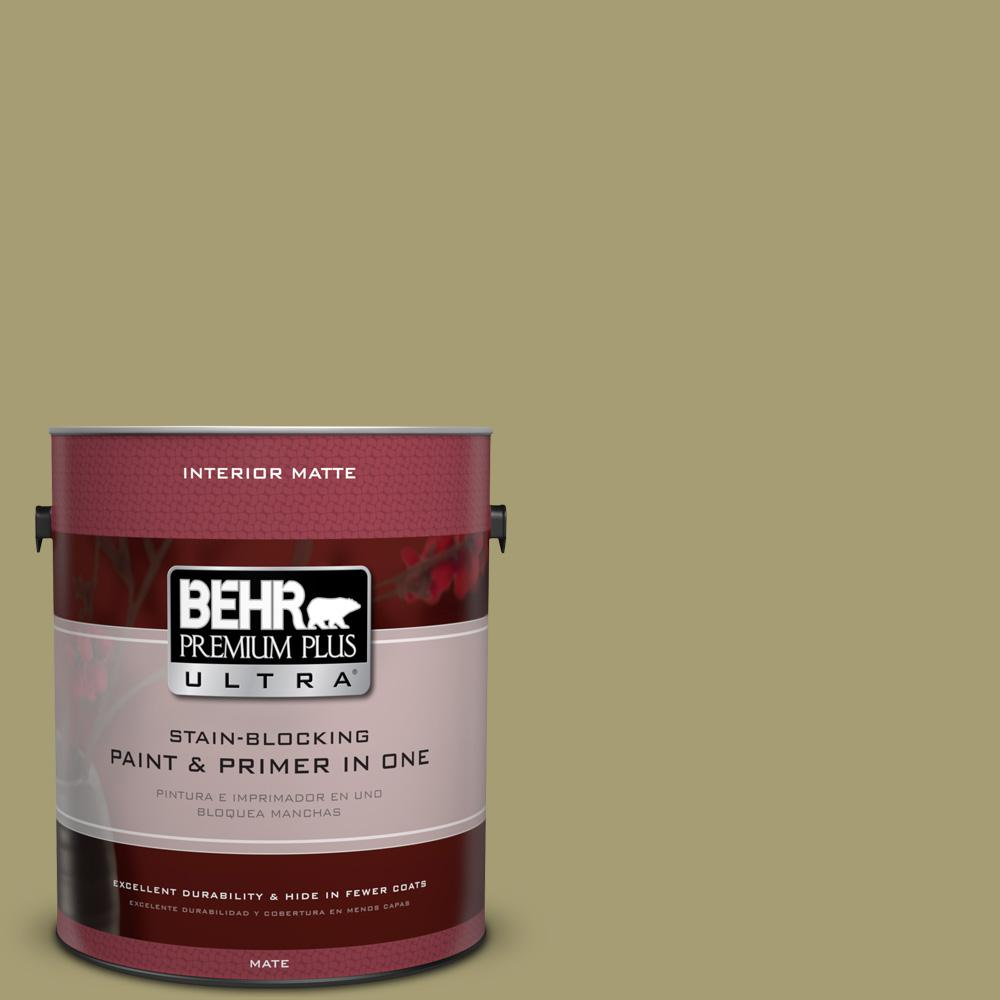 1 gal. #PPU9-4 Fresh Olive Matte Interior Paint and Primer in
