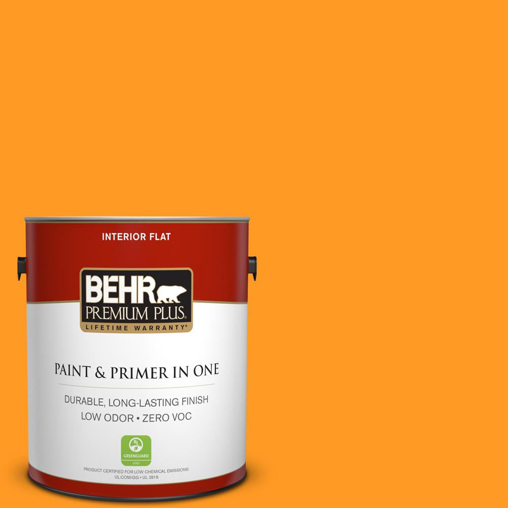 1 gal. #300B-7 Goldfish Flat Zero VOC Interior Paint and Primer