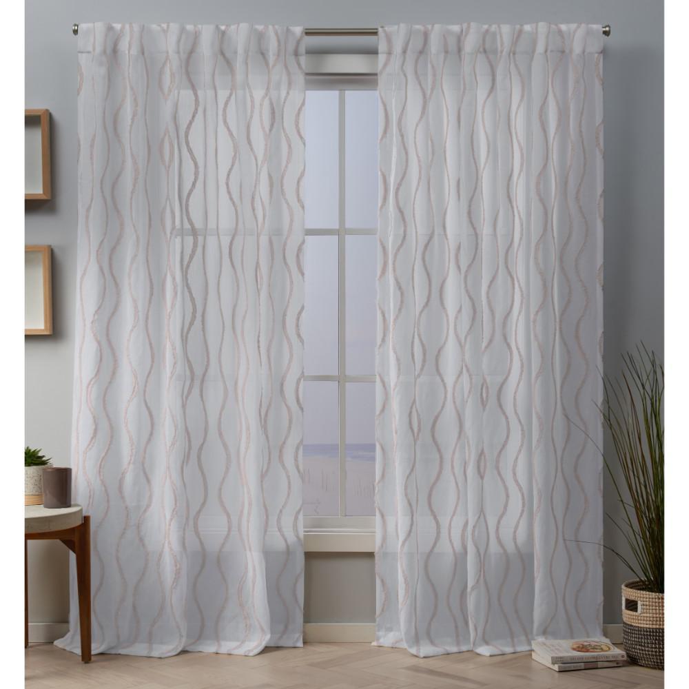 Belfast 54 in. W x 84 in. L Sheer Hidden Tab Top Curtain Panel in Blush (2 Panels)