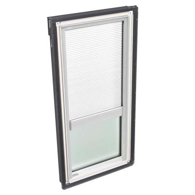 22-1/2 in. x 45-3/4 in. Fixed Deck-Mount Skylight with Laminated Low-E3 Glass and White Manual Light Filtering Blind