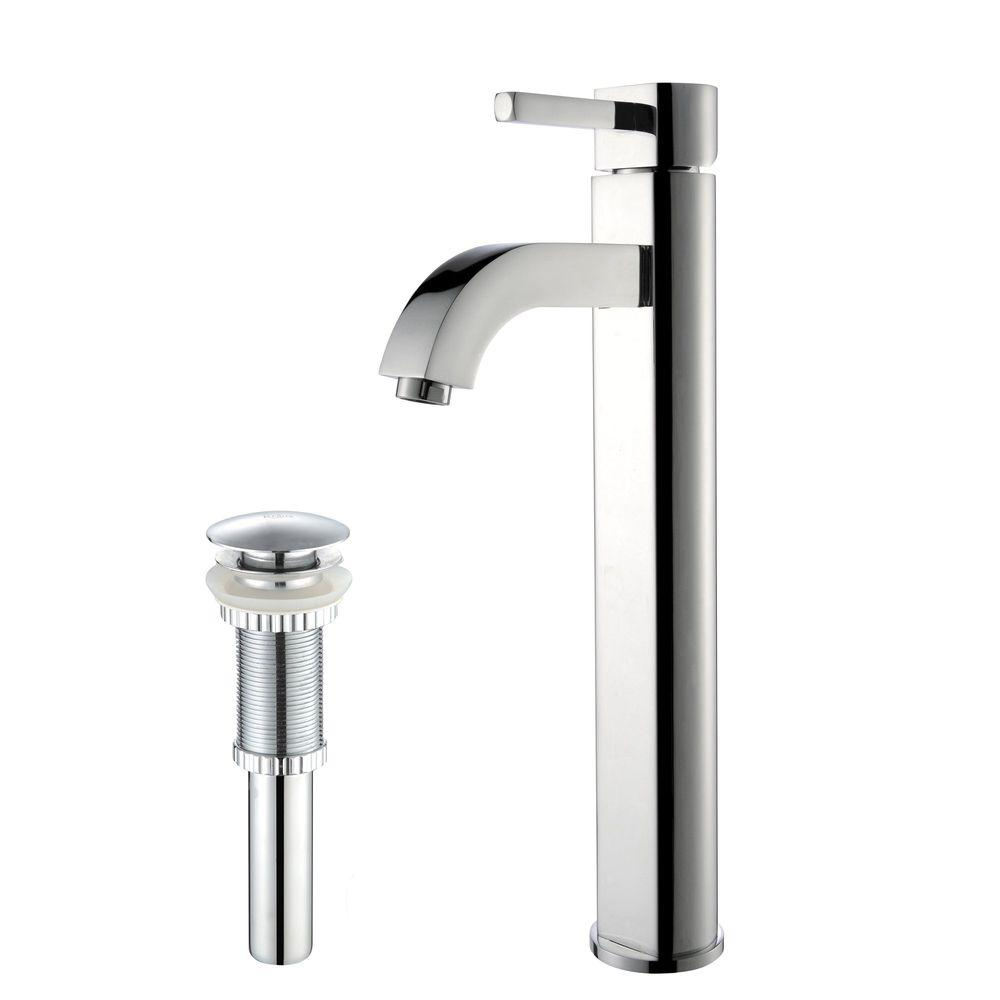 Ramus Single Hole Single-Handle Vessel Bathroom Faucet with Matching Pop Up