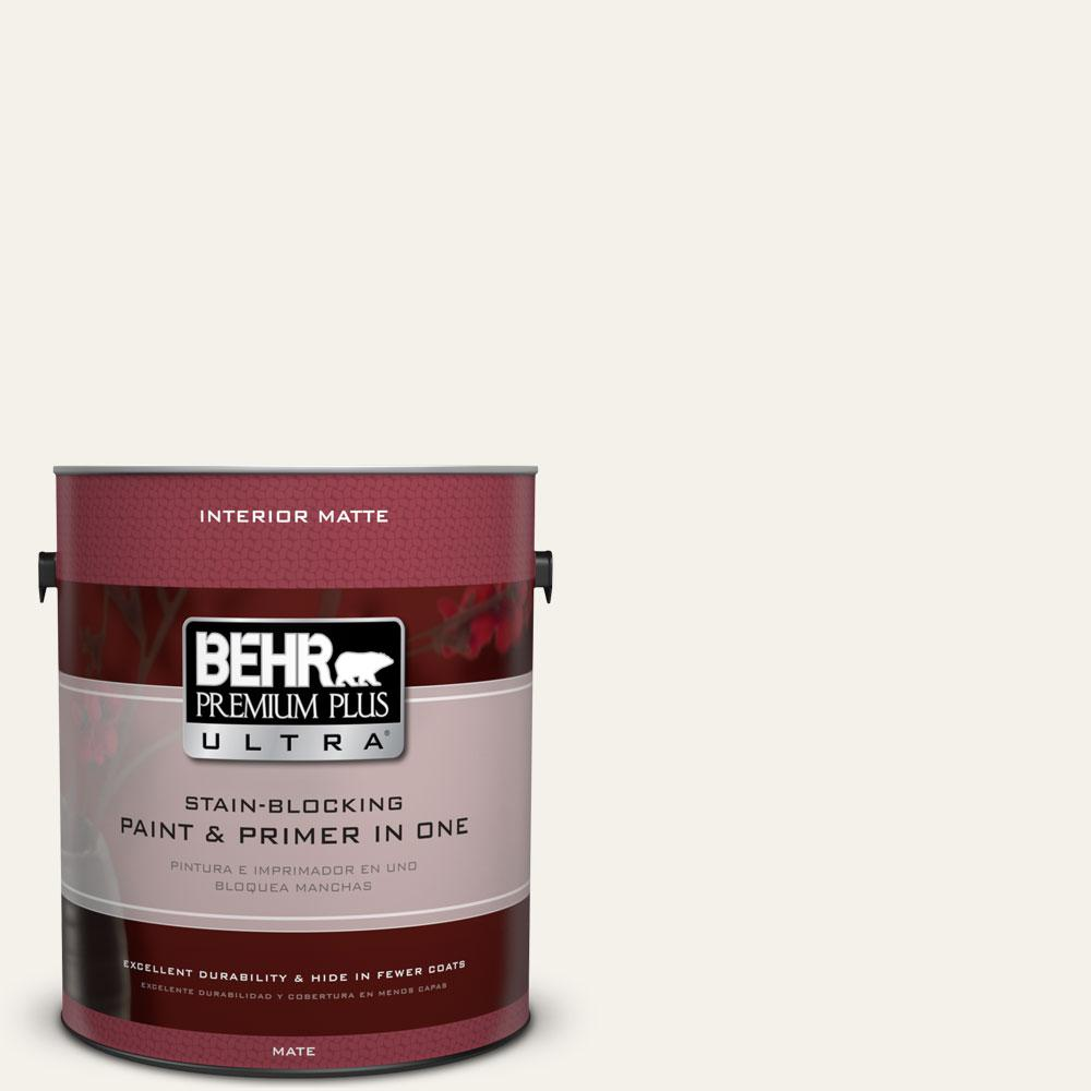 BEHR Premium Plus Ultra 1 gal. #PWN-50 Snowy Egret Matte Interior Paint and Primer in One