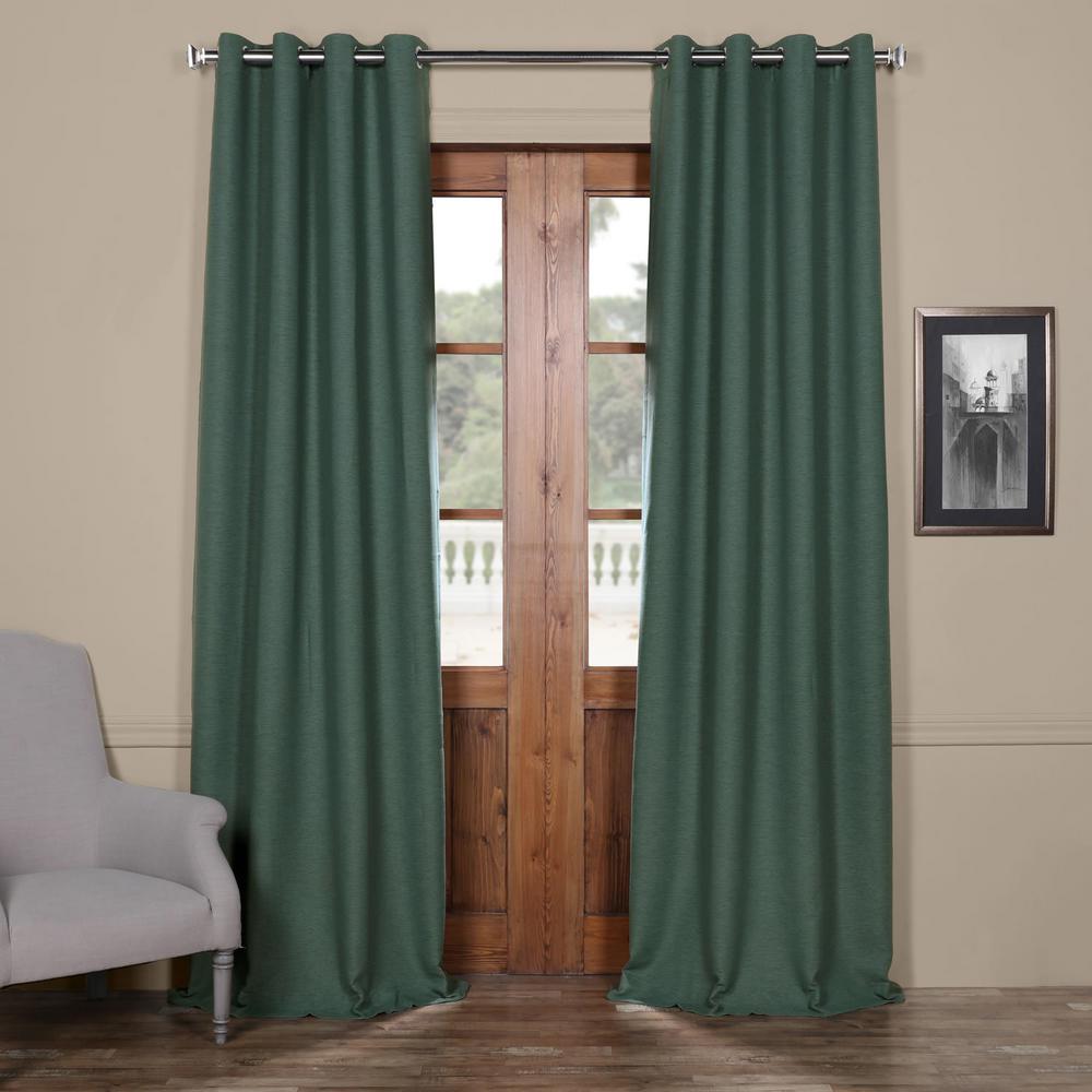 Semi-Opaque Jadite Green Bellino Grommet Blackout Curtain - 50 in. W x 96 in. L (Panel)