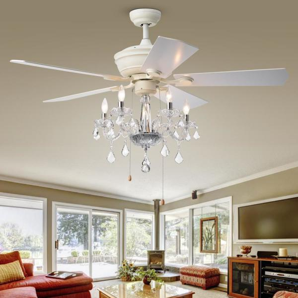 Warehouse of Tiffany - Havorand II 52 in. Indoor White Ceiling Fan with Light Kit