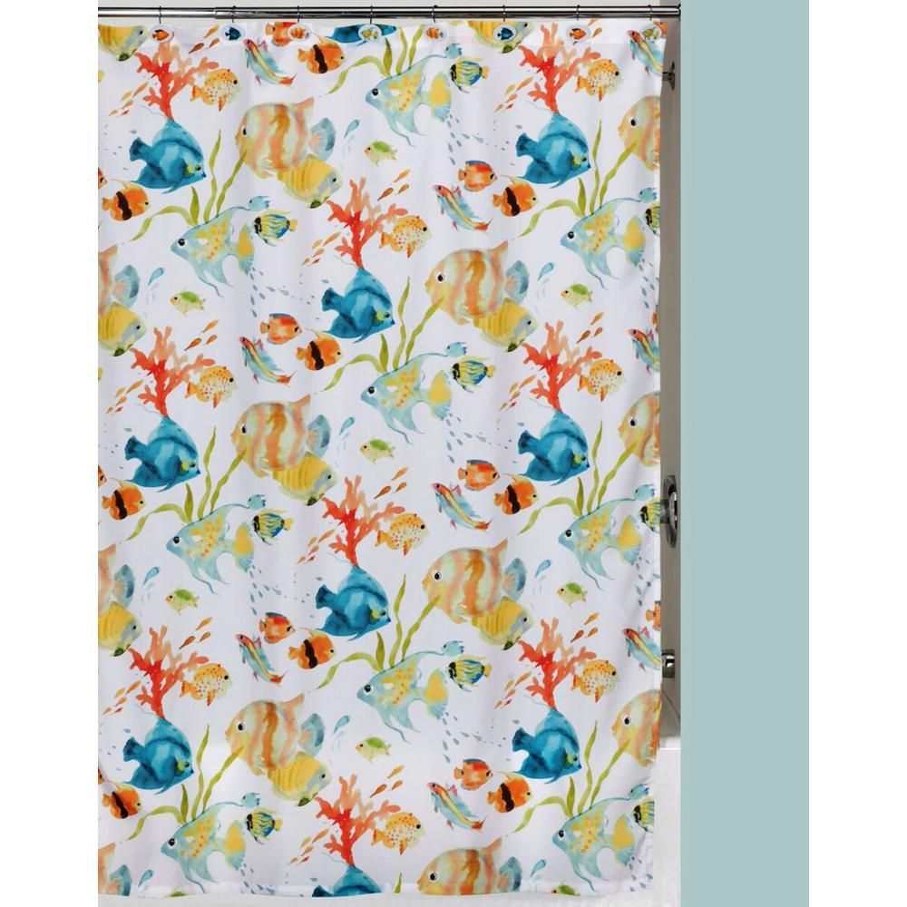 Creative Bath Rainbow Fish 72 In X Bright Tropical Themed Shower Curtain S1073MULT