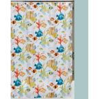 Rainbow Fish 72 in. x 72 in. Bright Tropical-Themed Shower Curtain