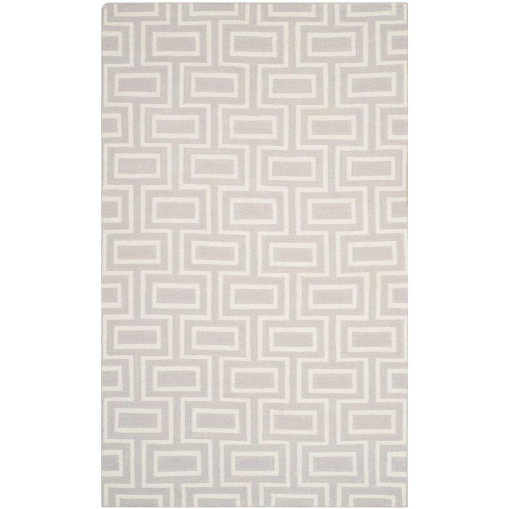 Dhurries Grey/Ivory 5 ft. x 8 ft. Area Rug