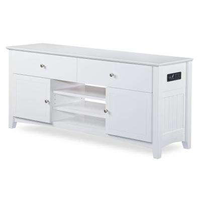 Nantucket 2-Drawer 26 in. x 60 in. White TV Table with Adjustable Shelves and Charging Station