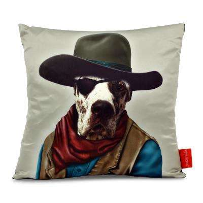 """18 in. x 18 in. Red and Pinks  Pets Rock """"Cowboy"""" Throw Pillow"""
