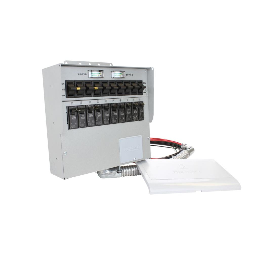 30 Amp 10-Circuit Manual Transfer Switch with 2-Pole 30 Amp Breaker