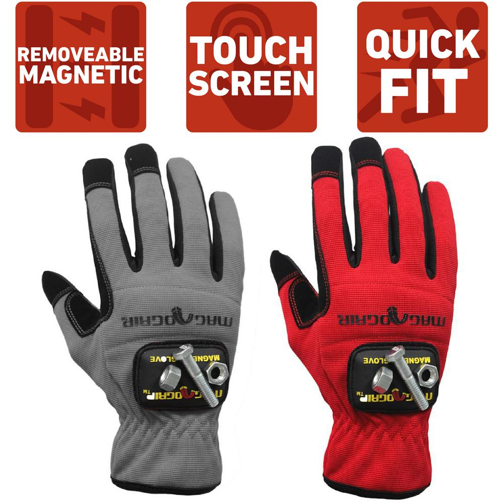 MagnoGrip Large High Dexterity Gloves with 1-Removable Magnet (2-Pair)