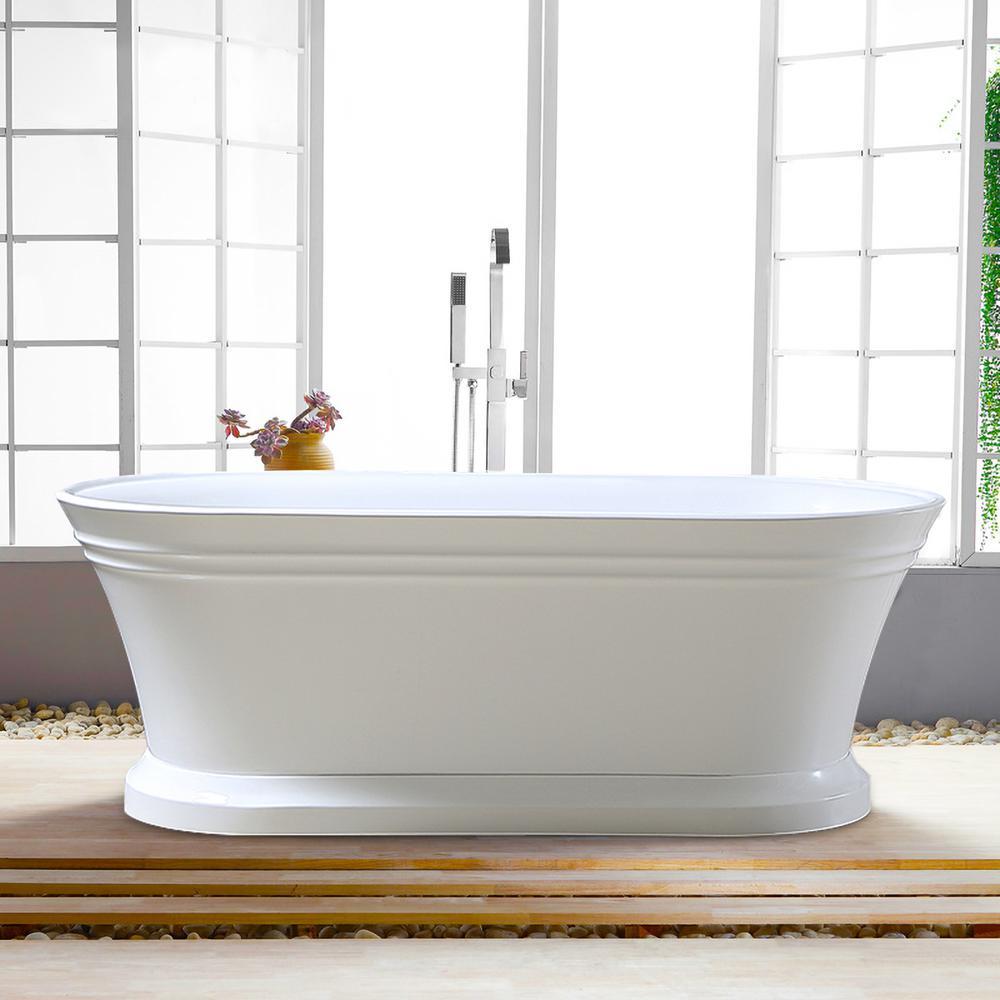 Versailles 67 in. Acrylic Flatbottom Freestanding Bathtub in White