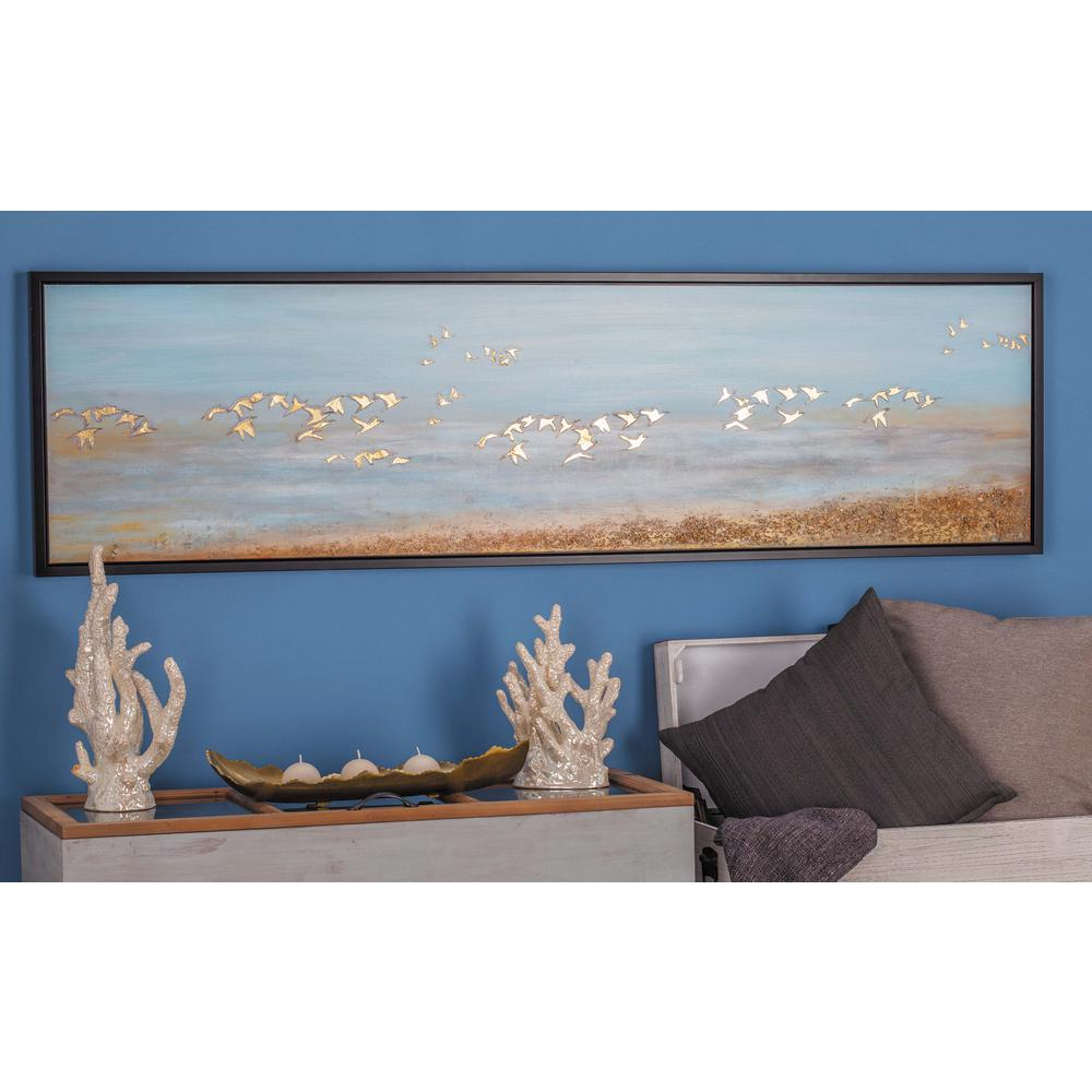 "Litton Lane 19 in. x 71 in. ""White Birds Flying"" Framed Hand Painted Canvas Wall Art"