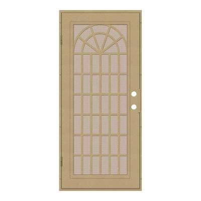 32 in. x 80 in. Trellis Desert Sand Left-Hand Surface Mount Security Door with Desert Sand Perforated Metal Screen