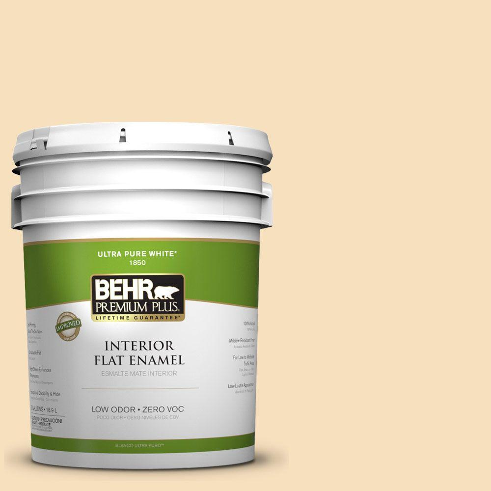 BEHR Premium Plus 5-gal. #350E-3 Oklahoma Wheat Zero VOC Flat Enamel Interior Paint-DISCONTINUED