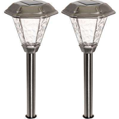 Adonis Solar Powered Integrated LED Stainless Steel Path Light (2-Pack)