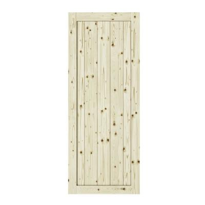 26 in. x 84 in. Rustic1-Panel Unfinished Knotty Pine Interior Barn Door Slab