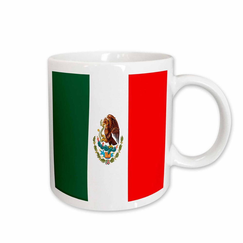 Flags 11 oz. White Ceramic Mexican Flag Mug