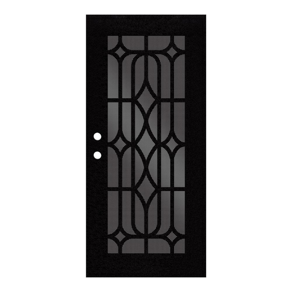 36 in. x 80 in. Essex Black Right-Hand Surface Mount Security