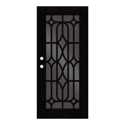 36 in. x 80 in. Essex Black Right-Hand Surface Mount Security Door with Black Perforated Metal Screen