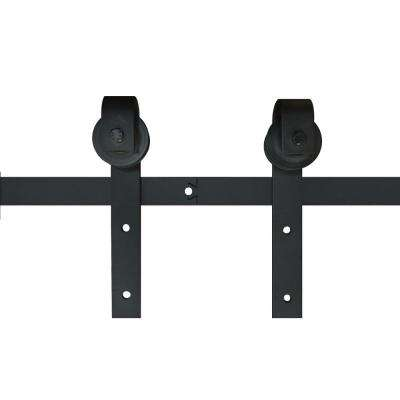 72 in. x 2.5 in. Black Metal Barn Door Sliding Door Hardware Kit