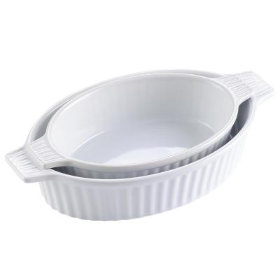2-Piece White Oval Porcelain Bakeware Set 9.5 in. and 11.25 in. Baking Dishes