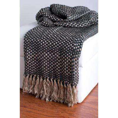 50 in. x 60 in. Beige and Gray Throw