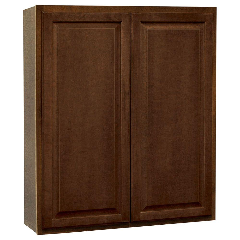 Hampton Bay Hampton Assembled 36x42x12 In Wall Kitchen Cabinet In Cognac Kw3642 Cog The Home