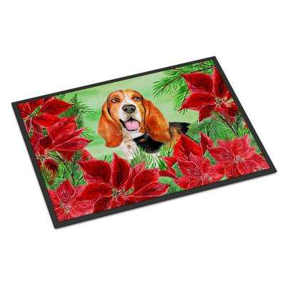 18 in. x 27 in. Indoor/Outdoor Basset Hound Poinsettas Door Mat
