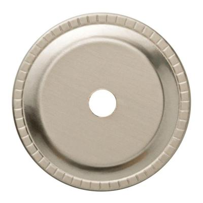 1-1/4 in. Satin Nickel Ribbed Edge Cabinet Knob Backplate