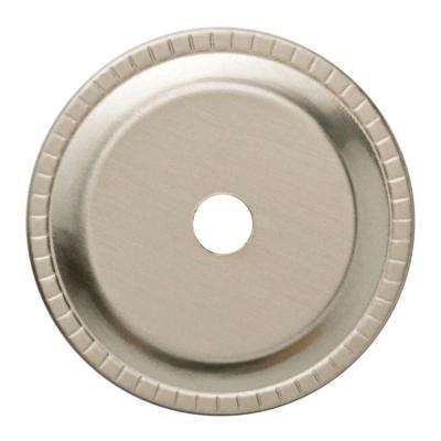 Satin Nickel Ribbed Edge Cabinet Knob Backplate