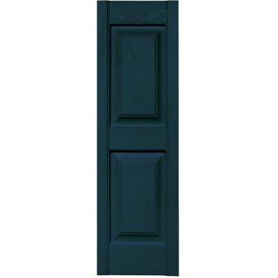 12 in. x 39 in. Raised Panel Vinyl Exterior Shutters Pair in #166 Midnight Blue