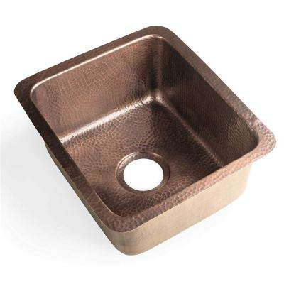 Monarch Dual Mount Pure Copper Hand Hammered 17 in. Highball Single Bowl Bar Prep/Kitchen Sink