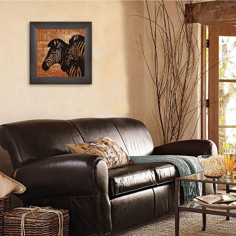 """15 in. x 15 in. """"Patterned Zebras"""" by Dee Dee Printed Framed Wall Art"""