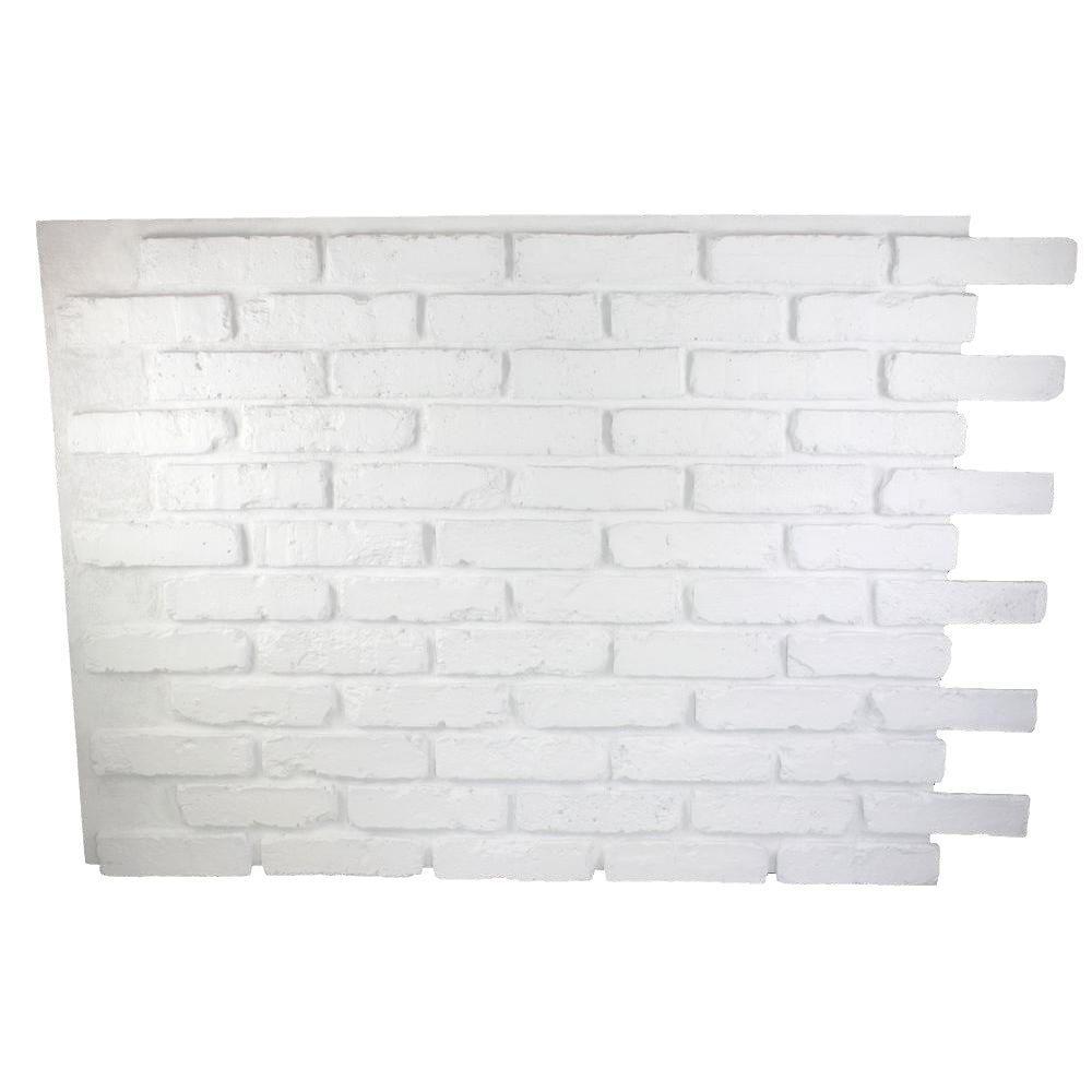 Dove White 32 in. x 47 in. x 3/4 in. Faux Reclaimed Brick Panel