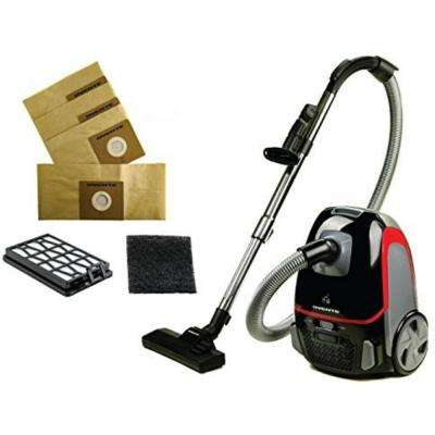 Corded Bagged Canister Vacuum 3-Stage Filtration with Hepa Filter, Energy-SAVING, Black Bundle