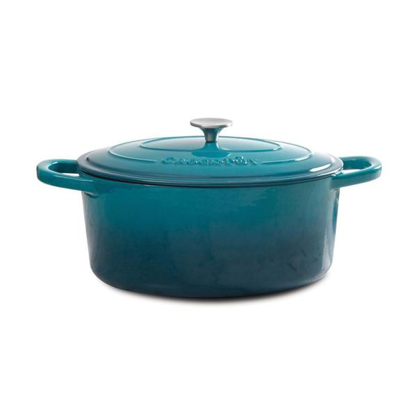 Artisan 5 qt. Round Cast Iron Nonstick Dutch Oven in Teal Ombre with Lid