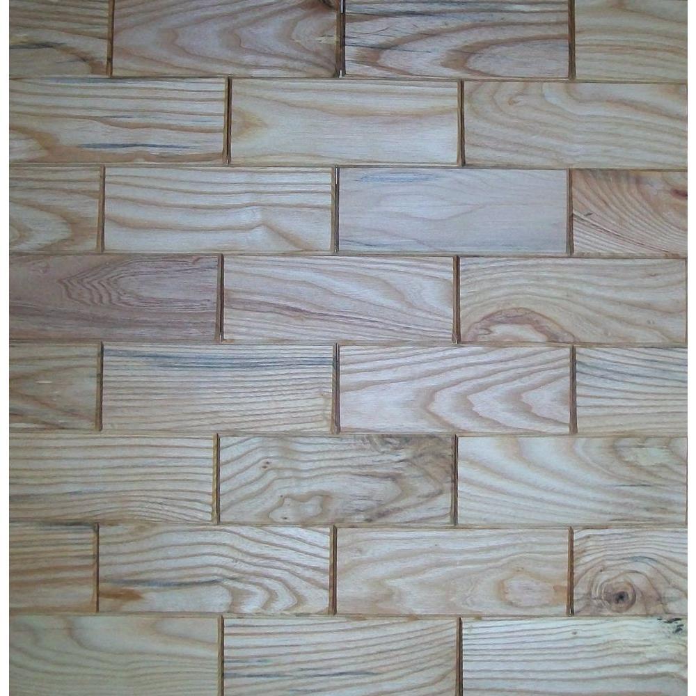 Rustix Woodbrix 3 in. x 8 in. Beech Wooden Wall Tile