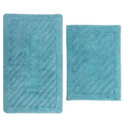 Diagonal Racetrack Aqua 17 in. x 24 in. and 34 in. x 21 in. 2-Piece Reversible Bath Rug Set