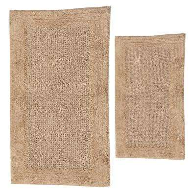 Naples Natural 20 in. x 30 in. and 40 in. x 24 in. 2-Piece Bath Rug Set