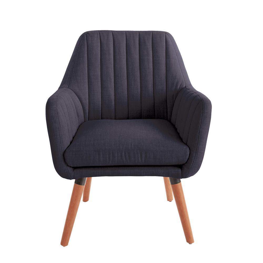 Mattie Navy Fabric Chair with Coffee Legs