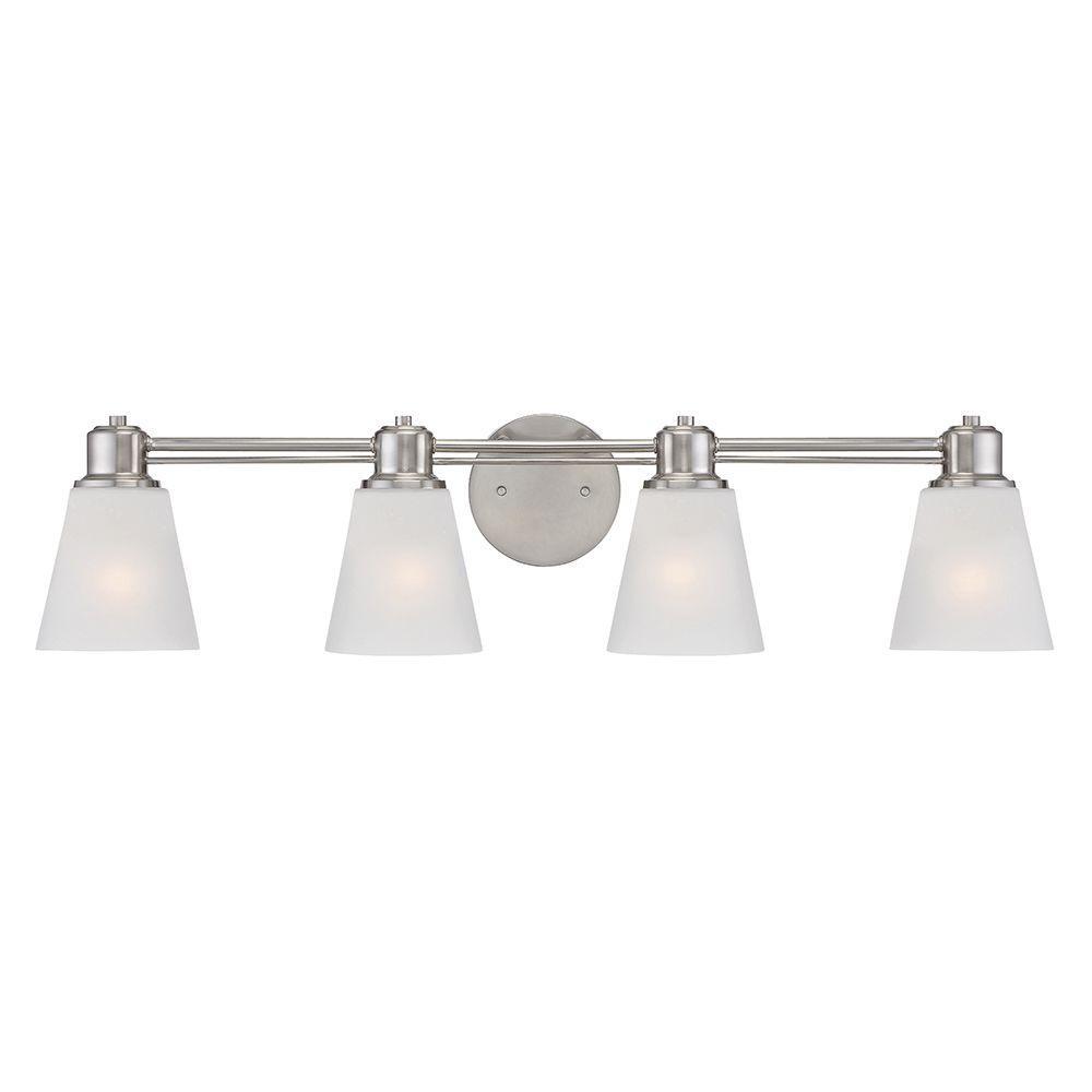 Printers Row 4-Light Satin Platinum Interior Incandescent Bath Vanity