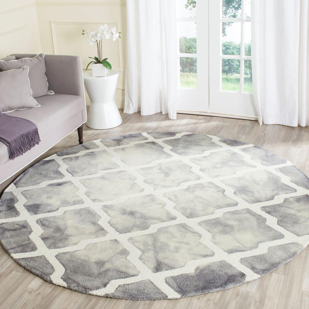 safavieh dip dye grey ivory 7 ft x 7 ft round area rug ddy540c 7r the home depot. Black Bedroom Furniture Sets. Home Design Ideas