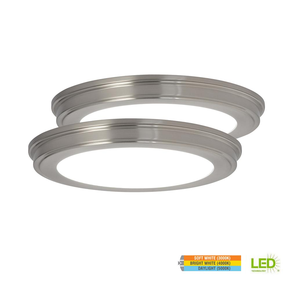 Commercial Electric 13 In Brushed Nickel Color Changing Led Ceiling Flush Mount 2 Pack