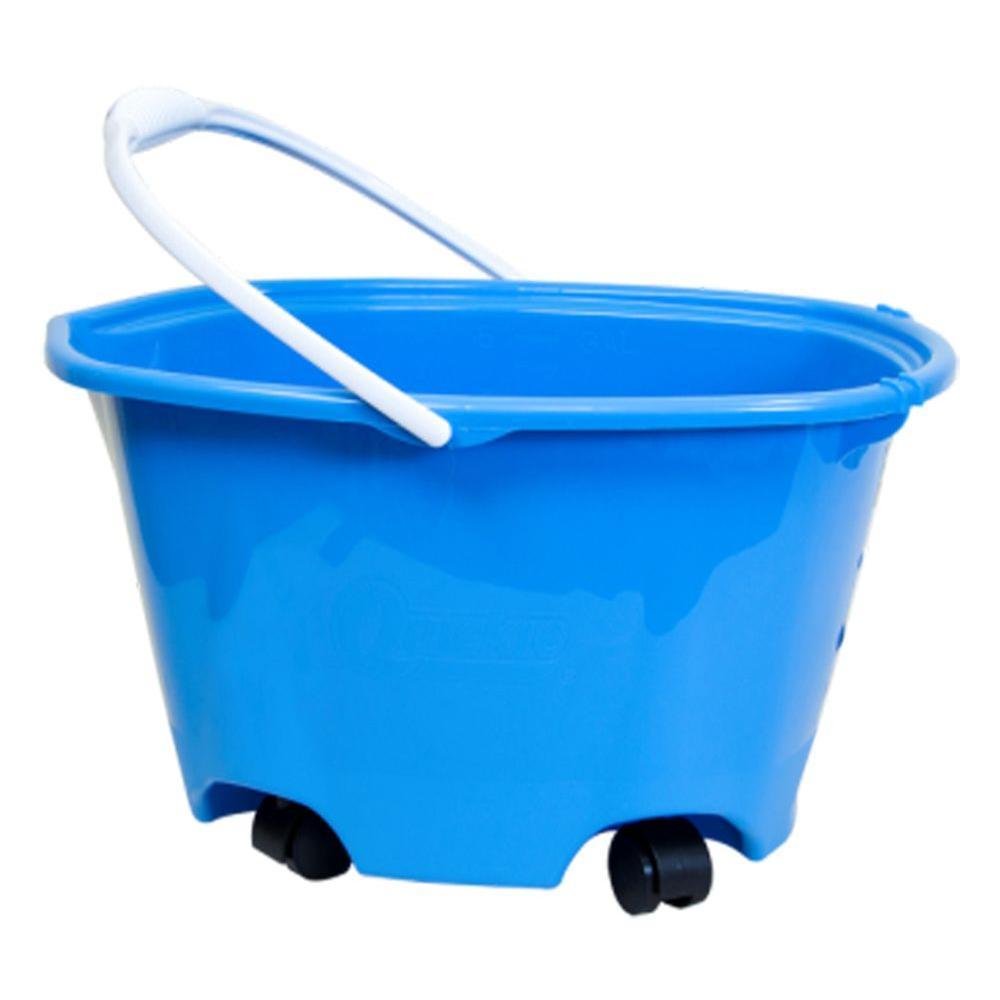 Quickie 5 Gal. EZ-Glide Blue Plastic Bucket on Wheels (4-Pack)